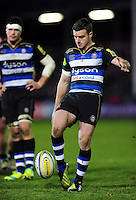 George Ford of Bath Rugby kicks for touch. Aviva Premiership match, between Bath Rugby and Saracens on April 1, 2016 at the Recreation Ground in Bath, England. Photo by: Patrick Khachfe / Onside Images