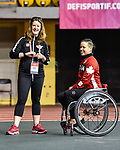 MONTREAL, QC - APRIL 29:  Cindy Ouellet and Jenny Davey chat it up during the 2017 Montreal Paralympian Search at Complexe sportif Claude-Robillard. Photo: Minas Panagiotakis/Canadian Paralympic Committee