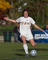 Boston College midfielder Zoe Lombard (20) passes the ball.  Boston College defeated Marist College, 6-1, in NCAA tournament play at Newton Campus Field, November 13, 2011.