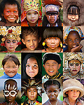 Mosaic of children from around the world, including, Kayapo, Indian, Native American, Inuit, Balinese, Polynesian, Yanomamo, Cuban, Tsaatan, Moroccan, Mongolian, Karo, Malagasy, and Pakistani.