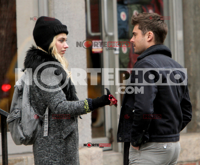 NEW YORK, NY - DECEMBER 20: Imogen Poots and Zac Efron on the set of Are We Officially Dating. New York City. December 20, 2012. Credit: RW/MediaPunch Inc. /NortePhoto