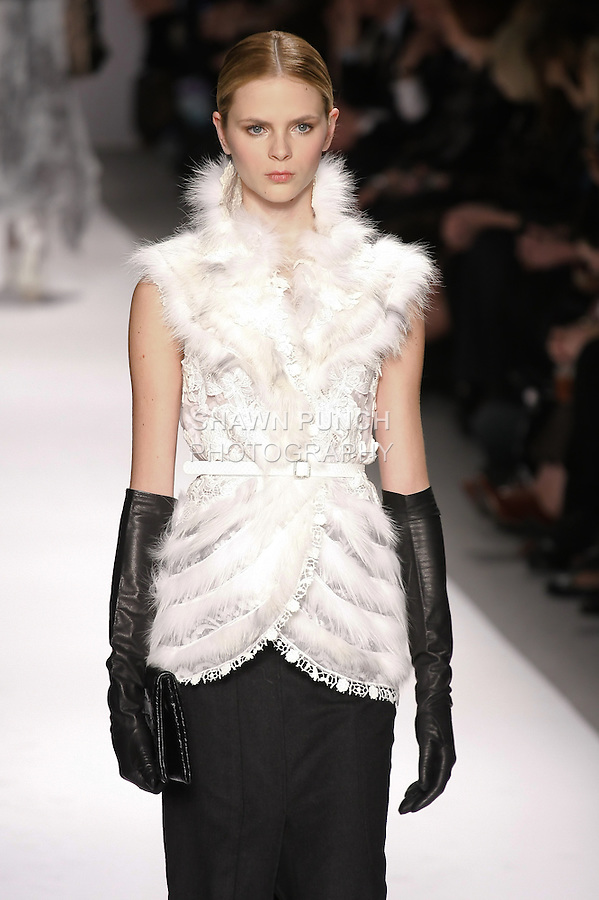Antonella Graef walks runway in an outfit from the Elie Tahari Fall 2011 collection, during Mercedes-Benz Fashion Week Fall 2011.