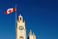 Canada, Montreal, Clock Tower, Tour de lHorloge, with Canadian flag