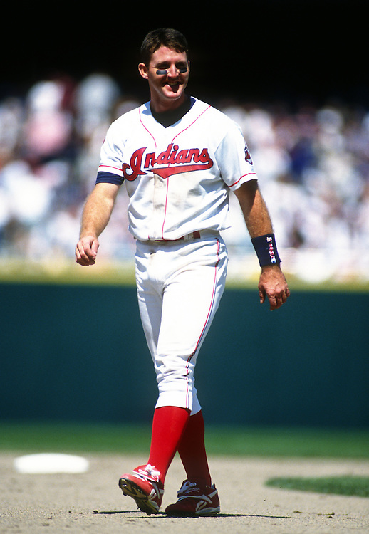 CLEVELAND - 1995:  Jim Thome #25 of the Cleveland Indians looks on during an MLB game at Jacobs Field in Cleveland, Ohio.  Thome played for the Indians from 1991-2002.  (Photo by Ron Vesely)