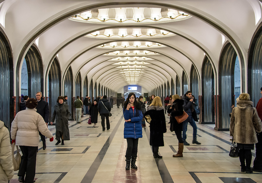 MOSCOW - CIRCA MARCH 2013: People walking in the famous Mayakovskaya Metro Station circa march 2013. With a population of more than 11 million people is one the largest cities in the world and a popular tourist destination.