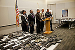 LA Mayor Antonio Villaraigosa and local law enforcement and city officials hold a press conference about the city's gun buy back program held yesterday.. 901 handguns, 698 rifles, 363 shotguns and 75 assault weapons were collected yesterday. Gift cards for Ralph's supermarket, ranging from $50-$200, were traded for the guns. The gift cards were donated to the city's buyback program. Two rocket launchers were also turned in.