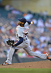 29 September 2012: Detroit Tigers pitcher Al Alburquerque in action against the Minnesota Twins at Target Field in Minneapolis, MN. The Tigers defeated the Twins 6-4 in the second game of their 3-game series. Mandatory Credit: Ed Wolfstein Photo