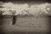 Mormon Row Outhouse - Grand Tetons, WY - Sepia Black & White