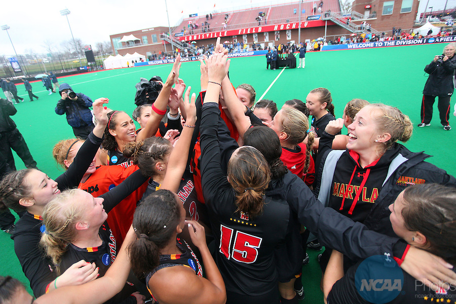 20 NOV 2011: The University of Maryland celebrates their victory over the University of North Carolina during the Division I Women&rsquo;s Field Hockey Championship held at Trager Stadium on the University of Louisville campus in Louisville, KY.  Maryland defeated North Carolina 3-2 in overtime to win the national title. Jonathan Palmer/ NCAA Photos