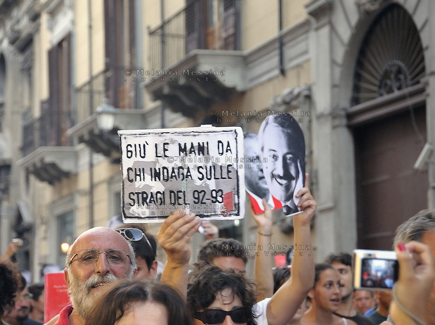 Palermo: commemoration of the massacre of Via D'Amelio,  the march of Red diaries people...Palermo: commemorazione della strage di via D'amelio,  corteo con il popolo delle agende rosse.