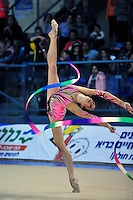Neta Rivkin of Israel performs with ribbon at 2011 Holon Grand Prix, Israel on March 4, 2011.  (Photo by Tom Theobald).