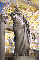 Statue St. St. Peter's the Walls' Basilica in Rome,Pope Benedict XVI during the ecumenical ceremony of Vespers in the in St. Paul Outside the Walls' Basilica in Rome, Italy, .Jan. 25, 2009.