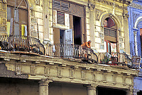 Old Havana Cuba Balcony watching, Republic of Cuba,