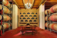 Wine Barrel room, Castle Banfi, Tuscany, Italy. (Editorial Use Only)