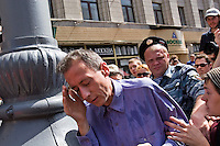 Moscow, Russia, 27/05/2007..Veteran British gay rights activist Peter Tatchell is attacked and beaten by Russian nationalists before being arrested by riot police at  Moscow's second attempted Gay Pride parade. The parade had already been banned by Moscow Mayor Yuri Luzhkov on the grounds that it would provoke violence, but gay activists attempted to demonstrate in defiance of the ban, and many were beaten by counter demonstrators and arrested by police.