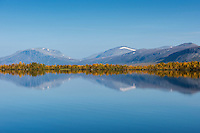 Mountain reflection on lake Sitojaure, Kungsleden trail, Lapland, Sweden