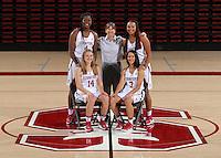 STANFORD, CA - September, 20, 2016: The 2016-2017 Stanford Women's Basketball Team. Mikaela Brewer, Anna Wilson, Nadia Fingall, Tara VanDerveer, Dijonai Carrington