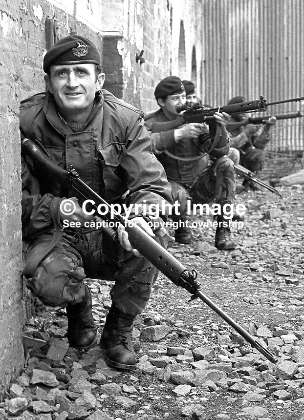 British soldiers from the 1st Glosters on foot patrol in the Lower Falls area of Belfast, N Ireland. 197304130195a..Copyright Image from Victor Patterson, 54 Dorchester Park, Belfast, UK, BT9 6RJ..Tel: +44 28 9066 1296.Mob: +44 7802 353836.Voicemail +44 20 8816 7153.Skype: victorpattersonbelfast.Email: victorpatterson@me.com.Email: victorpatterson@ireland.com (back-up)..IMPORTANT: If you wish to use this image or any other of my images please go to www.victorpatterson.com and click on the Terms & Conditions. Then contact me by email or phone with the reference number(s) of the image(s) concerned.