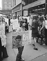 """The National Organization for Women (NOW) protests the """"Fly Me"""" ad campaign released in 1971 by National Airlines. NOW denounced the campaign for the depiction of women as sex objects. New York City. Photo by John G. Zimmerman."""