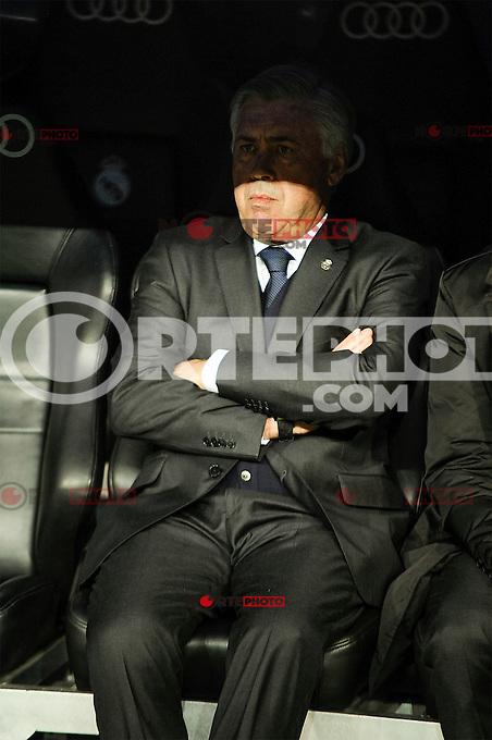 Real Madrid´s coach Carlo Ancelotti during 2014-15 La Liga match between Real Madrid and Levante UD at Santiago Bernabeu stadium in Madrid, Spain. March 15, 2015. (ALTERPHOTOS/Luis Fernandez) /NORTEphoto.com
