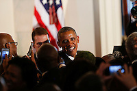 US President Barack Obama shakes hands after delivering remarks at the reception in honor of the opening of the Smithsonian National Museum of African American History and Culture, in the Grand Foyer of the White House September 22, 2016, Washington, DC. <br /> Credit: Aude Guerrucci / Pool via CNP /MediaPunch