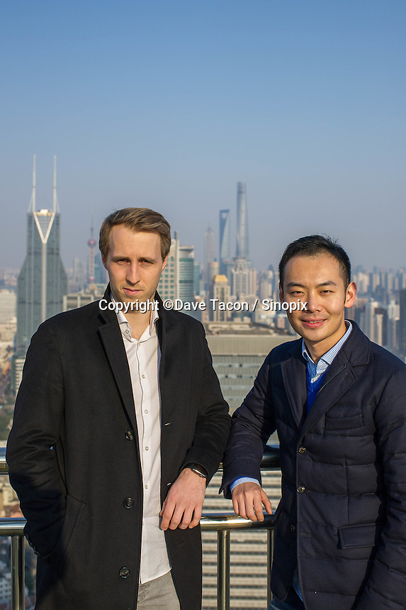 February 27, 2017, Shanghai, China - (L-R): Mu Qing, 28, Co-founder and CEO of Hotnest Technology and Fabian von Heimburg, 28, Co-founder and Managing Director of Hotnest Technology on the rooftop of their office building on West Nanjing Road. (Dave Tacon/Sinopix)