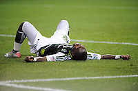 Kalif Alhassan (11) of the Portland Timbers reacts to being red carded. The New York Red Bulls defeated the Portland Timbers 2-0 during a Major League Soccer (MLS) match at Red Bull Arena in Harrison, NJ, on September 24, 2011.