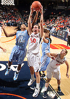 CHARLOTTESVILLE, VA- JANUARY 5: Chelsea Shine #50 of the Virginia Cavaliers grabs a rebound next to Danielle Butts #10 of the North Carolina Tar Heels during the game on January 5, 2012 at the John Paul Jones arena in Charlottesville, Virginia. North Carolina defeated Virginia 78-73. (Photo by Andrew Shurtleff/Getty Images) *** Local Caption ***Chelsea Shine;Danielle Butts