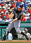 10 July 2011: Colorado Rockies outfielder Seth Smith in action against the Washington Nationals at Nationals Park in Washington, District of Columbia. The Nationals shut out the visiting Rockies 2-0 salvaging the last game their 3-game series at home prior to the All-Star break. Mandatory Credit: Ed Wolfstein Photo