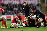 Nili Latu of Tonga gathers the loose ball. Rugby World Cup Pool C match between New Zealand and Tonga on October 9, 2015 at St James' Park in Newcastle, England. Photo by: Patrick Khachfe / Onside Images