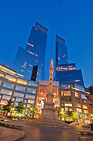 New York City, New York, Time Warner Center. Designed by David Childs of Skidmore, Owings & Merrill LLP, 10 Columbus Circle, Late Modern (International Style III), Columbus Circle Fountain Sculpture Gaetano Russo