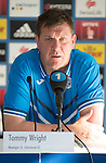 FC Luzern v St Johnstone...16.07.14  Europa League 2nd Round Qualifier<br /> Manager Tommy Wright during his press conference ahead of tomorrow's game against FC Luzern<br /> Picture by Graeme Hart.<br /> Copyright Perthshire Picture Agency<br /> Tel: 01738 623350  Mobile: 07990 594431