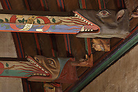 Carved and painted fire-breathing monstrous heads supporting the cross beams, architectural detail of the painted wooden ceiling in the shape of a boat's hull, in the Salle des Povres or Room of the Poor, almost 50m long, in Les Hospices de Beaune, or Hotel-Dieu de Beaune, a charitable almshouse and hospital for the poor, built 1443-57 by Flemish architect Jacques Wiscrer, and founded by Nicolas Rolin, chancellor of Burgundy, and his wife Guigone de Salins, in Beaune, Cote d'Or, Burgundy, France. The hospital was run by the nuns of the order of Les Soeurs Hospitalieres de Beaune, and remained a hospital until the 1970s. The building now houses the Musee de l'Histoire de la Medecine, or Museum of the History of Medicine, and is listed as a historic monument. Picture by Manuel Cohen