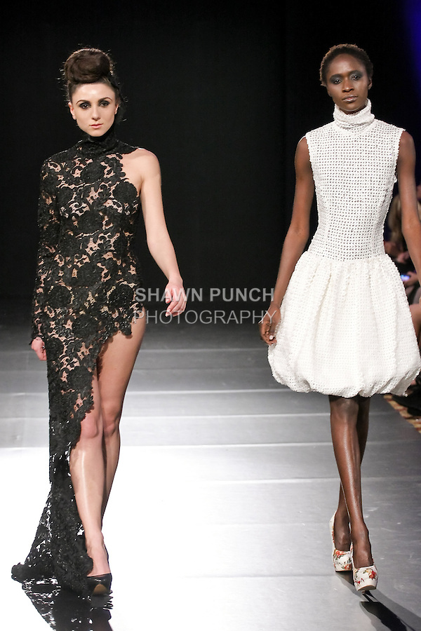 Models walk runway in a 3zehn Fall 2011 outfits by Kristin Zimmermann, during Couture Fashion Week Fall 2011 in New York.