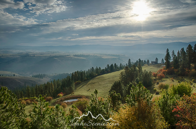 Idaho, North Central, Grangeville. Autumn view into the Clearwater River Valley above Stites.