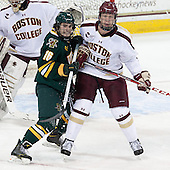 Pete Massar (UVM - 16), Michael Matheson (BC - 5) - The Boston College Eagles defeated the University of Vermont Catamounts 4-1 on Friday, February 1, 2013, at Kelley Rink in Conte Forum in Chestnut Hill, Massachusetts.