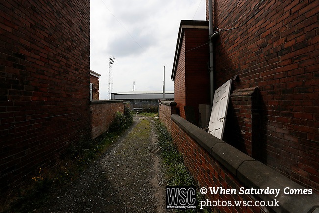Port Vale 3 Doncaster Rovers 0, 22/08/2015. League One, Vale Park. An abandoned door in an alley between terraced houses, behind the KMF Stand at Vale Park. Photo by Paul Thompson.