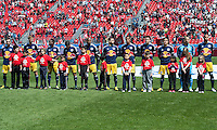 April 27, 2013: New York Red Bulls players during the opening ceremonies in a game between Toronto FC and the New York Red Bulls at BMO Field  in Toronto, Ontario Canada..The New York Red Bulls won 2-1.