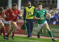Ireland U20's Calvin Nash gets away from the Welsh defence to score the game's first try<br /> <br /> Photographer Alex Dodd/CameraSport<br /> <br /> RBS Six Nations U20 Championship Round 4 - Wales U20s v Ireland U20s - Saturday 11th March 2017 - Parc Eirias, Colwyn Bay, North Wales<br /> <br /> World Copyright &copy; 2017 CameraSport. All rights reserved. 43 Linden Ave. Countesthorpe. Leicester. England. LE8 5PG - Tel: +44 (0) 116 277 4147 - admin@camerasport.com - www.camerasport.com