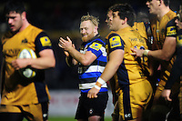 Ross Batty of Bath Rugby celebrates a turnover. Aviva Premiership match, between Bath Rugby and Bristol Rugby on November 18, 2016 at the Recreation Ground in Bath, England. Photo by: Patrick Khachfe / Onside Images