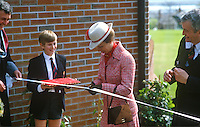 Princess Anne on a May 1985 visit to N Ireland is pictured cutting the tape at the official opening of an extension to Belfast Royal Academy's Preparatory Department at its Ben Madigan campus. Right in the photo is Bill Sillery, principal, 19850501h..Copyright Image from Victor Patterson, 54 Dorchester Park, Belfast, UK, BT9 6RJ..Tel: +44 28 9066 1296.Mob: +44 7802 353836.Voicemail +44 20 8816 7153.Skype: victorpattersonbelfast.Email: victorpatterson@me.com.Email: victorpatterson@ireland.com (back-up)..IMPORTANT: If you wish to use this image or any other of my images please go to www.victorpatterson.com and click on the Terms & Conditions. Then contact me by email or phone with the reference number(s) of the image(s) concerned.