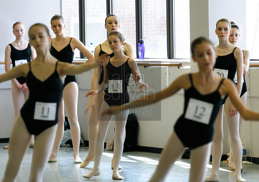 Dancers at the Atlanta Ballet Center for Dance Education on Saturday, Jan. 6, 2007 during auditions to attend the School of American Ballet in New York City. Atlanta was the first stop on an audition tour of more than two dozen cities. About ten percent of the hopefuls will be chosen.