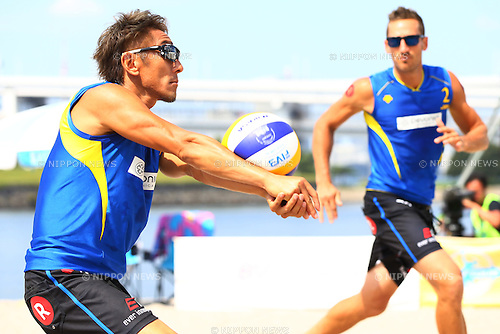 Koichi Nishimura &amp; Ty loomis,<br /> SEPTEMBER 21, 2015 - Beach Volleyball : <br /> JBV Tour 2015 Tokyo Open<br /> Men's Semi-Final<br /> at Odaiba Beach, Tokyo, Japan.<br /> (Photo by Shingo Ito/AFLO SPORT)