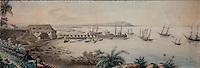 View of the port of Cayenne, French Guiana, South America, seen from the fort, late 18th century watercolour, in the Musee d'Aquitaine, Cours Pasteur, Bordeaux, Aquitaine, France. Picture by Manuel Cohen
