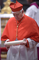 Italian Cardinal Edoardo Menichelli.Pope Francis,during a consistory for the creation of new Cardinals at St. Peter's Basilica in Vatican.February 14, 2015