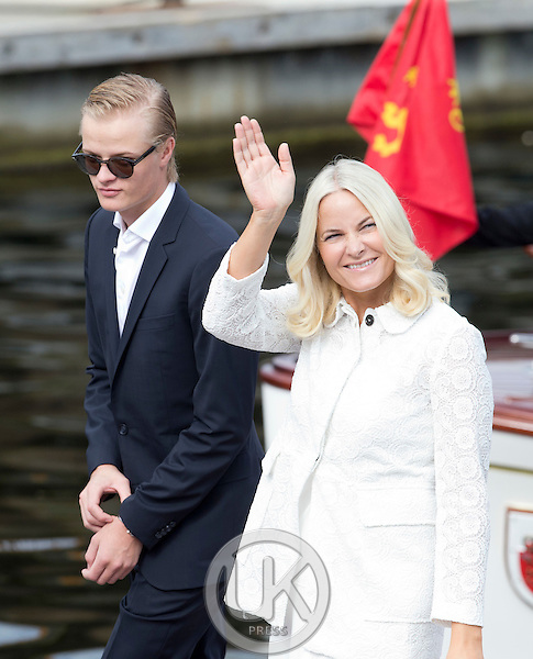 TRONDHEIM, NORWAY - JUNE 23:  Crown Princess Mette-Marit of Norway, and her son, Marius Borg Hoiby on a visit to Trondheim, during the King and Queen of Norway's Silver Jubilee Tour, on June 23, 2016 in Trondheim, Norway.