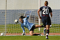 US Women's National Team goalie #1, Hope Solo, makes a penalty kick save vs Iceland (first of two penalty kicks she saved) at the Algarve Cup in Vila Real Sto. Antonio, Portugal.