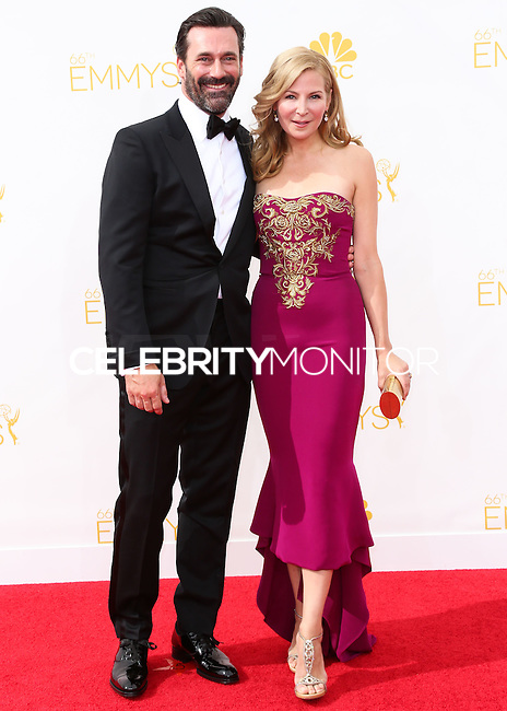 LOS ANGELES, CA, USA - AUGUST 25: Actor Jon Hamm and actress Jennifer Westfeldt arrive at the 66th Annual Primetime Emmy Awards held at Nokia Theatre L.A. Live on August 25, 2014 in Los Angeles, California, United States. (Photo by Celebrity Monitor)