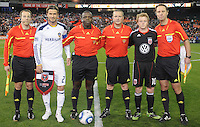 DC United midfielder Dax McCarty and Los Angeles Galaxy David Beckham with referees at the coin toss.    DC United tied  Los Angeles Galaxy 1-1, at RFK Stadium, Saturday April 9, 2011.
