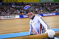 Picture by Alex Whitehead/SWpix.com - 03/03/2016 - Cycling - 2016 UCI Track Cycling World Championships, Day 2 - Lee Valley VeloPark, London, England - Great Britain's Becky James reacts to winning her round 1 repechage in the Women's Keirin.